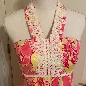 Lilly Pulitzer Pink Floral Halter Dress Size 4